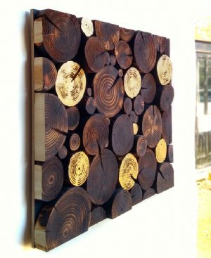 Log Wall Art - RECTANGULAR MOSAIC in BLACKENED & GOLD LEAF
